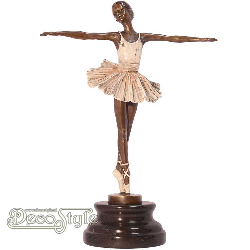 Cold Painted Bronze Sculpture Girl Ballet Dancer